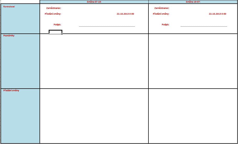 Bilance výroby - Formulář pro zobrazení zodpovědné osoby apředání směny